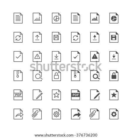 Document icons, included normal and enable state. - stock vector