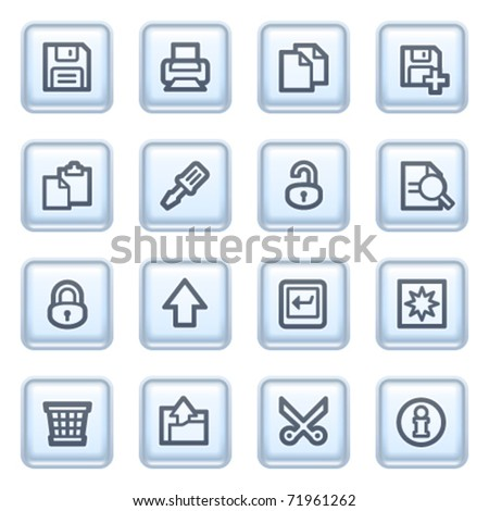 Document icons on blue buttons, set 1.