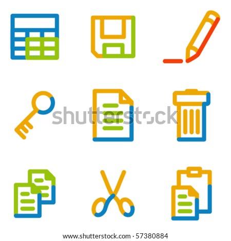 Document icons set 1, color contour series - stock vector