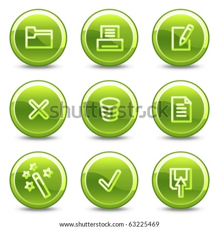 Document icons set 2, green circle glossy buttons - stock vector