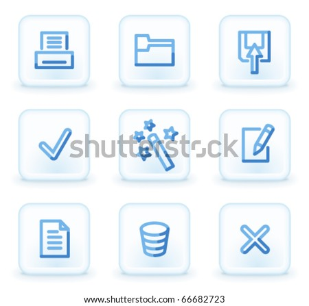 Document icons set 2,  square ice buttons - stock vector