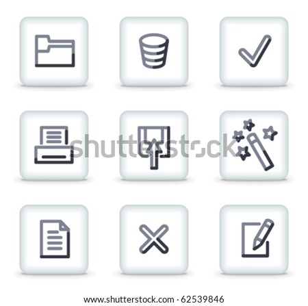 Document icons set 2, white square glossy buttons - stock vector