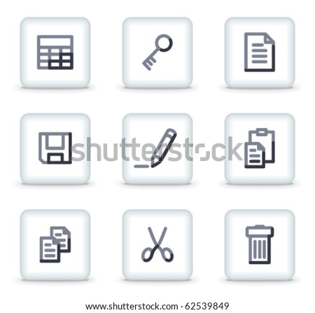 Document icons set 1, white square glossy buttons - stock vector