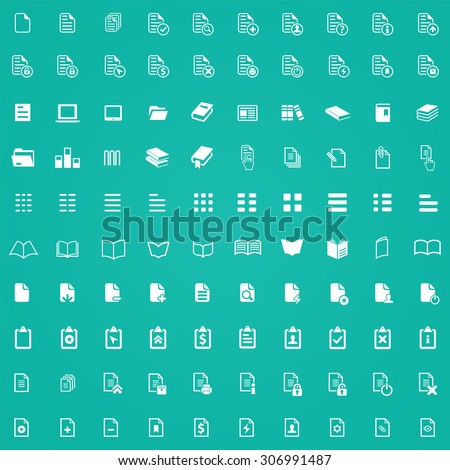document 100 icons universal set for web and mobile