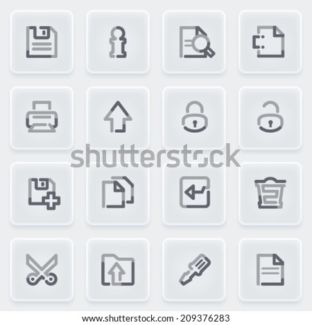 Document icons with plastics buttons on gray background.