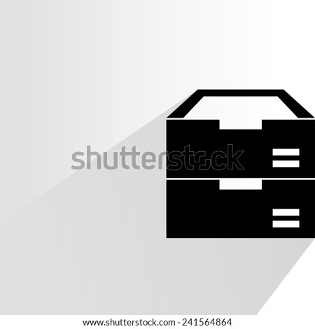 document inbox on white background, flat and shadow theme - stock vector