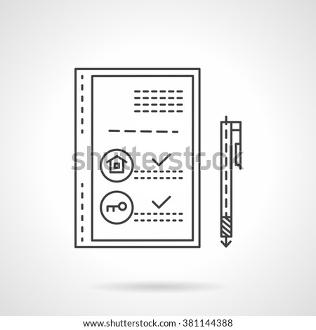Document paper for selling or rental property. Signing of a treaty. Real estate business. Vector icon flat thin line style. Element for web design, business, mobile app.  - stock vector