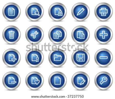 Document web icons, blue circle buttons series - stock vector