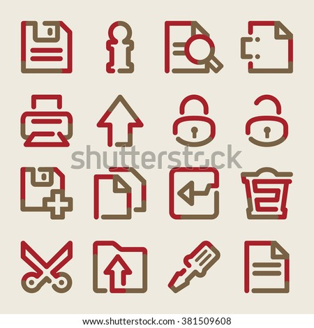 Document web icons. Brown red contour series.