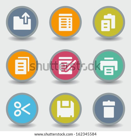 Document web icons, color circle buttons - stock vector