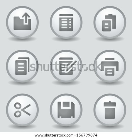 Document web icons, grey circle buttons - stock vector