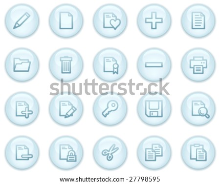 Document web icons, light blue circle buttons series - stock vector