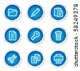 Document web icons set 1, blue stickers series - stock vector