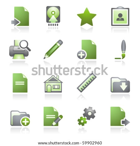 Document web icons, set 2. Gray and green series.