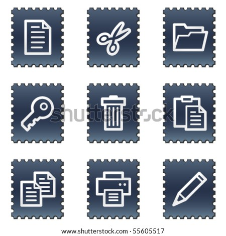 Document web icons set 1, navy stamp series