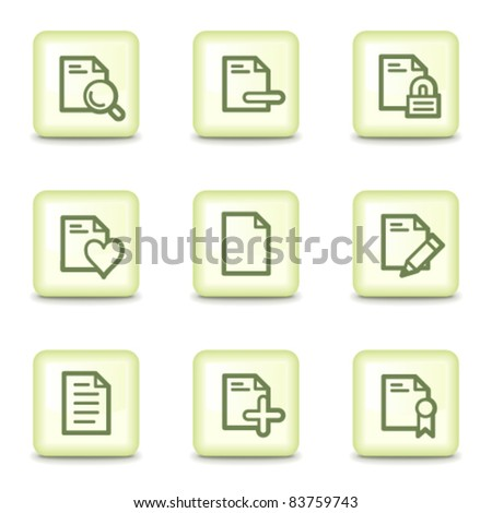 Document web icons set 2, salad green buttons - stock vector