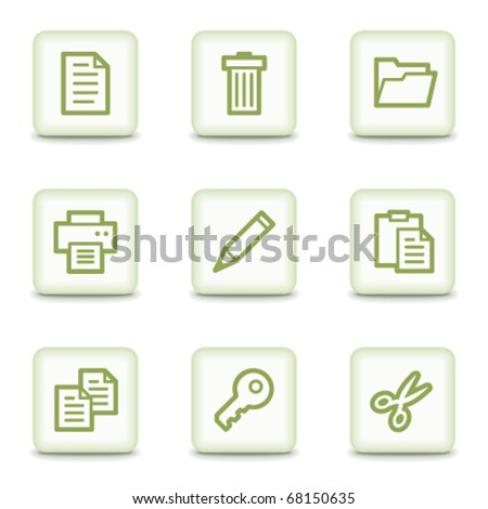 Document web icons set 1, white glossy buttons - stock vector