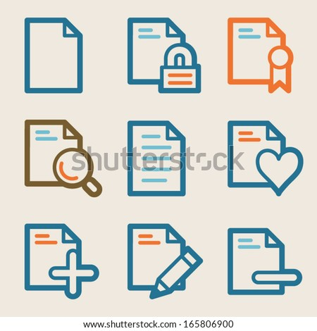 Document web icons, vintage series - stock vector