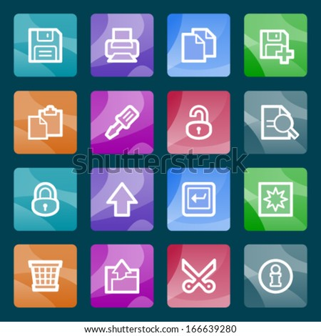 Document white icons on color buttons. - stock vector