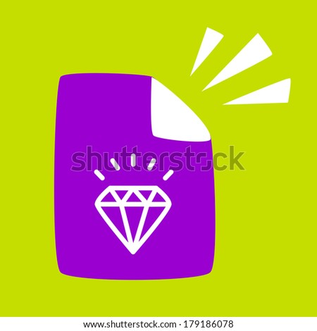 document with a  Diamond. Written about the benefits of  Diamond - stock vector