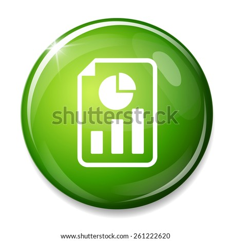 document with bar and pie chart icon - stock vector