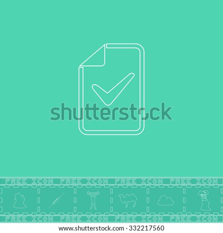 Document with check mark. White outline flat symbol and bonus icon. Simple vector illustration pictogram on green background - stock vector