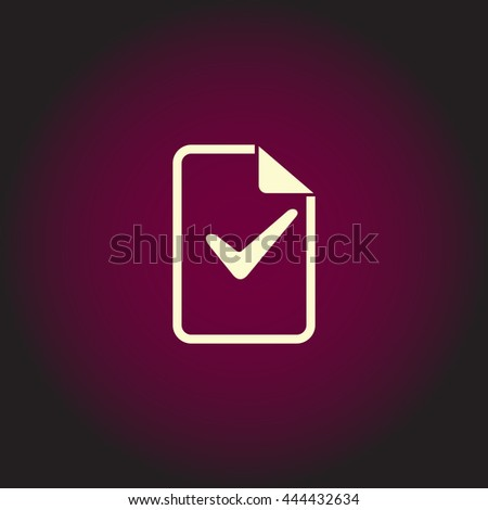 Document with check mark. White vector icon on dark background. Flat pictogram - stock vector