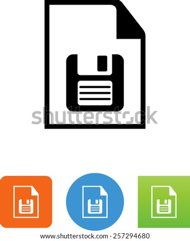 Document with floppy disk for download. Vector icons for video, mobile apps, Web sites and print projects.  - stock vector