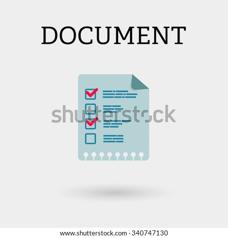 Document with two ticks. Flat style
