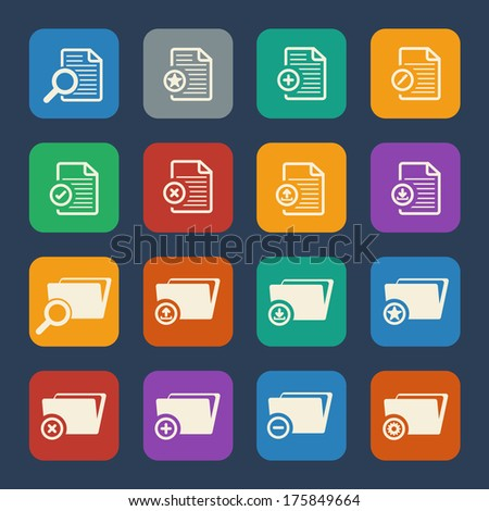 Documents and File Folder icons set.  Vector flat design. - stock vector