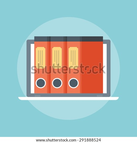 Documents Database flat style, colorful, vector icon for info graphics, websites, mobile and print media. - stock vector
