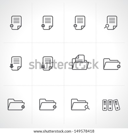Documents Icons and Folder icons set.Vector  - stock vector