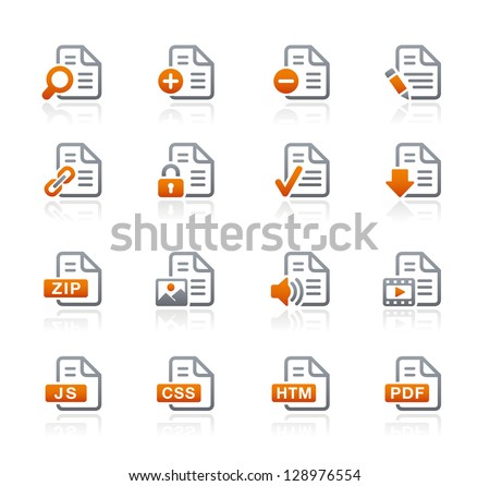 Documents Icons - 1 // Graphite Series - stock vector