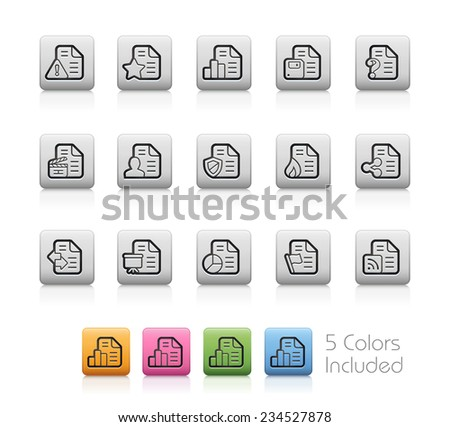 Documents Icons - 2 of 2 // Outline Buttons - Each color in a layer. To see the desired color, you need to make it visible in the layer panel -- EPS 10+ Contain Transparencies - stock vector