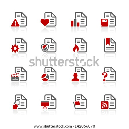 Documents Icons - 2 // Redico Series - stock vector