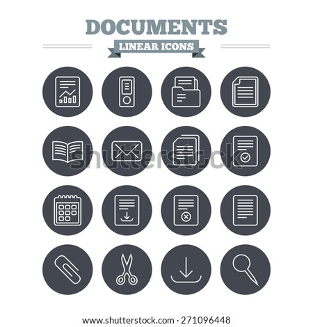 Documents linear icons set. Accounting, book and calendar symbols. Paper clip, scissors and download arrow thin outline signs. Mail envelope and file chart. Flat circle vector - stock vector