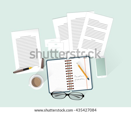 Documents on desk, flat illustration. Isolated objects. - stock vector