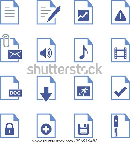 Documents, reports and file types.  - stock vector