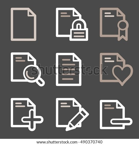Documents Web Icons Set Office Crm Stock Vector 490370740 Shutterstock