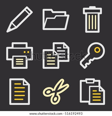 Documents Web Icons Set Office Crm Stock Vector 516192493 Shutterstock