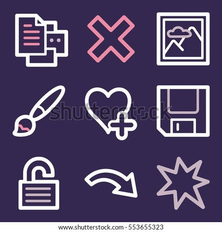 Documents Web Icons Set Office Crm Stock Vector Royalty Free