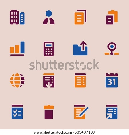 Documents Web Icons Set Office Crm Stock Vector 583437139 Shutterstock