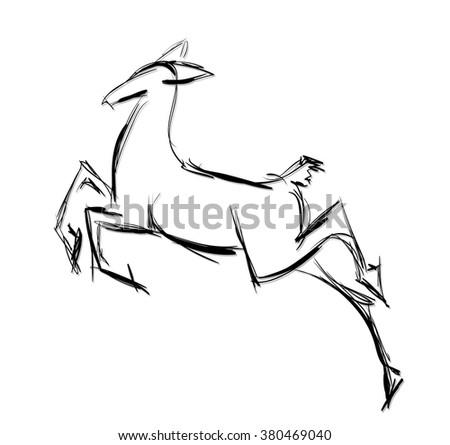 Doe standing. Sketch Vector illustration. - stock vector