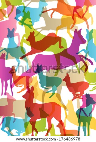 Doe venison deer silhouettes in abstract animal background illustration vector - stock vector