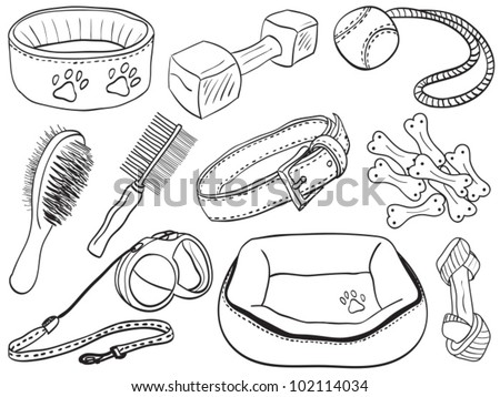 Dog accessories - pet equipment hand-drawn illustration, sketch style - stock vector