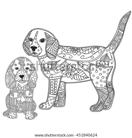 Dog Adult Antistress Or Children Coloring Page Hand Drawn Animal Doodle Sketch For Tattoo