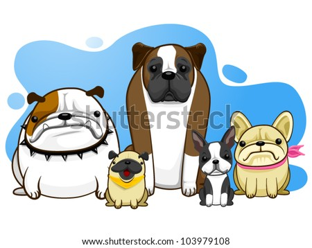 dog all breed bulldog pug boston terrier french bulldog - stock vector
