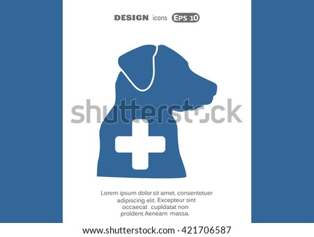 dog and a cross mark the veterinary clinic, web icon. vector des