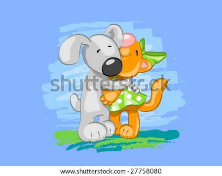 dog and cat in love (editable layers) - stock vector