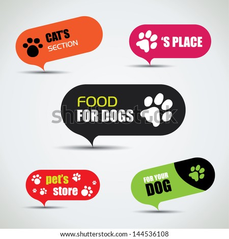 Dog and cat labeled pet store bubbles - stock vector